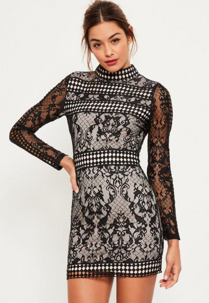 black and white tribal printed high neck lace dress