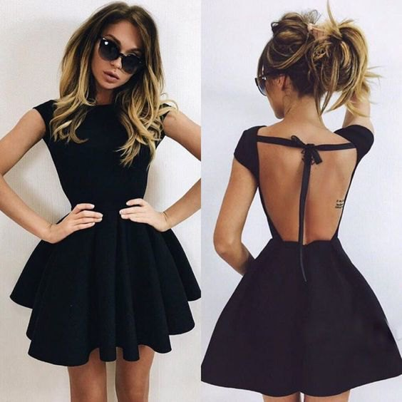 black backless ruffle mini dress outfit