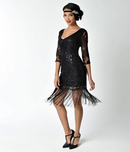 black beaded fringe dress lace detail