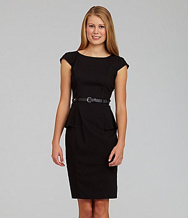 black belted peplum pencil dress