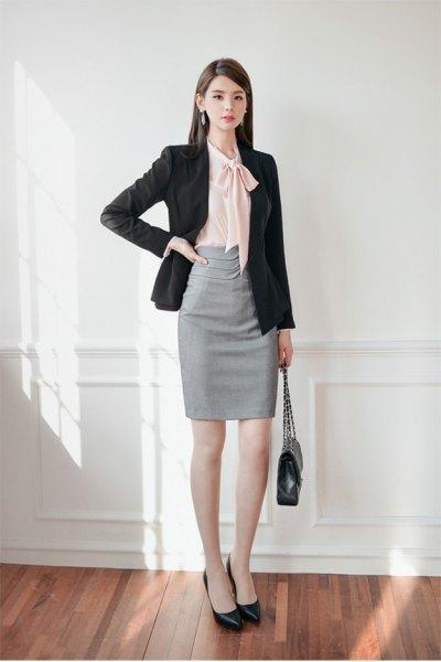 black blazer grey pencil skirt outfit