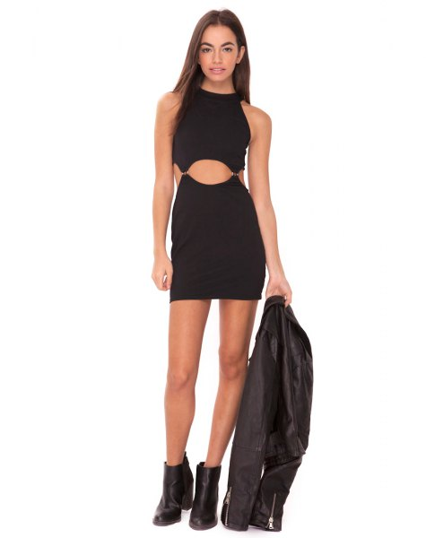 black bodycon cutout mini dress leather jacket