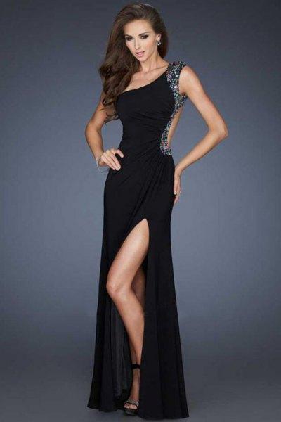 black bodycon high split backless dress
