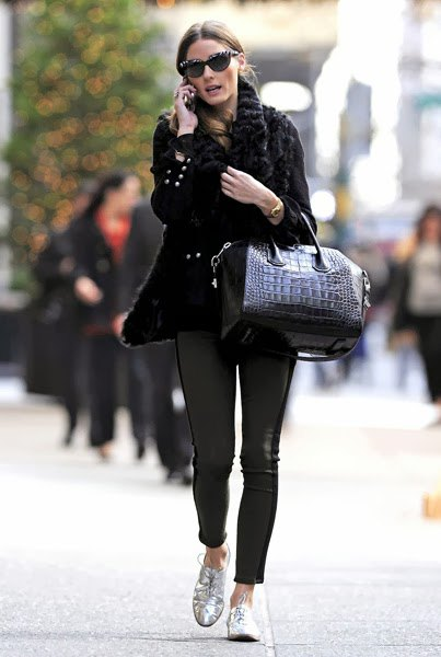 black cable knit chunky sweater leather leggings