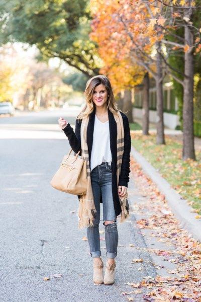 black cardigan white vest top camel fringe scarf