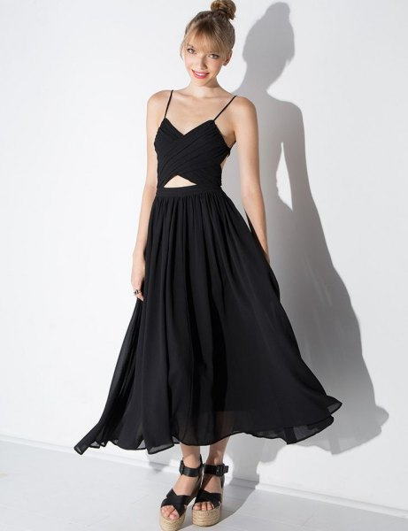 black chiffon dress cutouts waist back