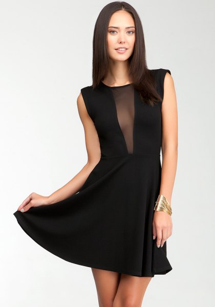 black chiffon skater dress sheer deep v neck