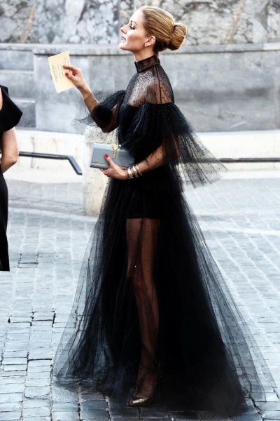 black chiffon tulle dress sheer shoulders and tail