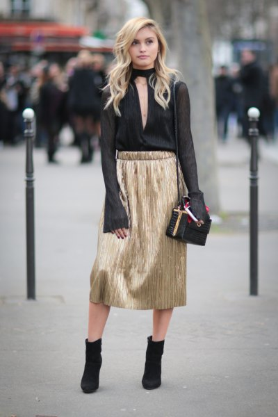 black choker collar chiffon blouse gold skirt