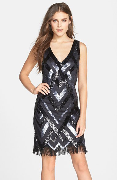 black deep v neck shift flapper dress