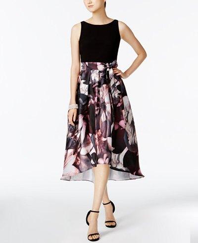 black empire waist floral high low dress