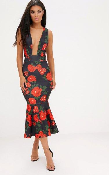black floral deep v neck midi dress