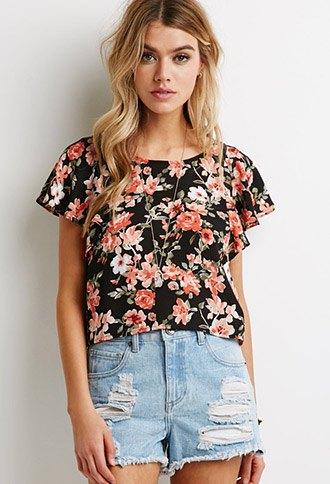 black floral flutter sleeve top denim shorts
