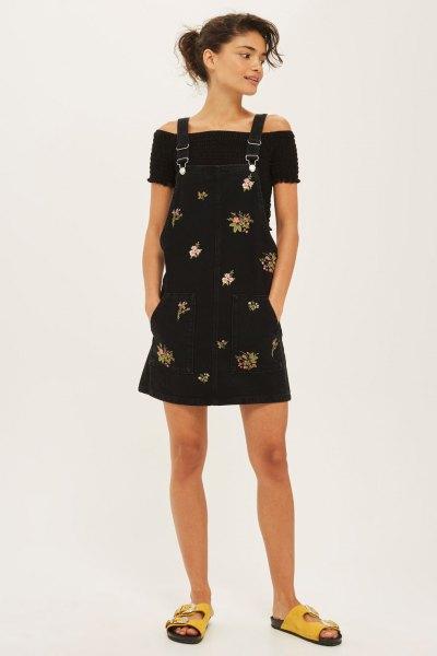 black floral pinafore dress off shoulder top