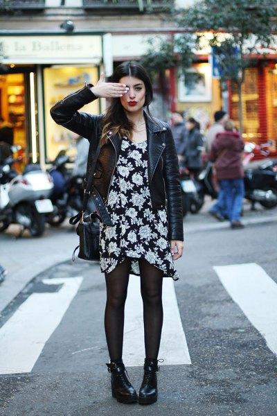 black floral shift dress leather jacket