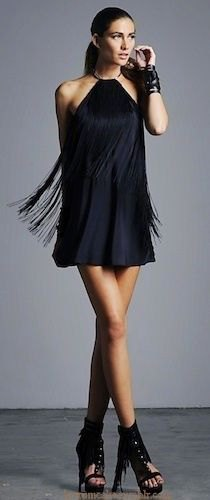 black halter mini dress