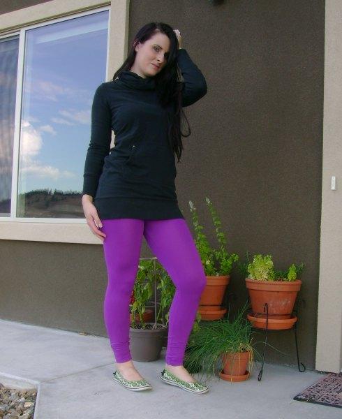 black hoodie dress purple leggings