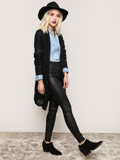 black knit cardigan chambray shirt black leather pants