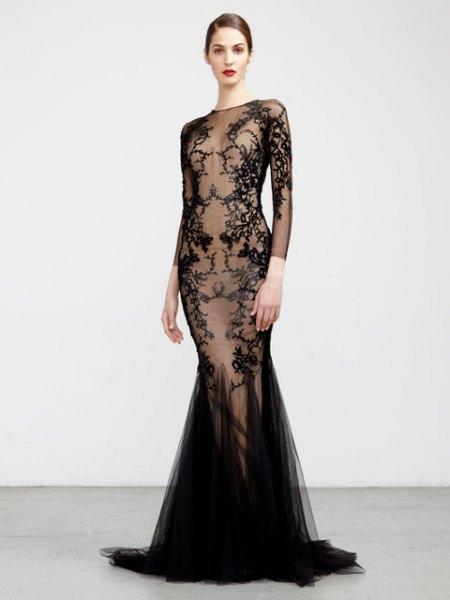 black lace semi sheer mermaid dress