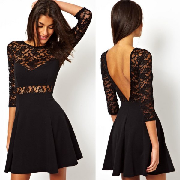 black lace skater open back dress