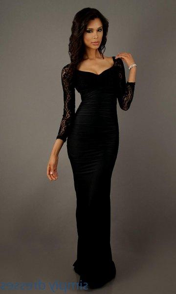 black lace sleeve bodycon floor length dress