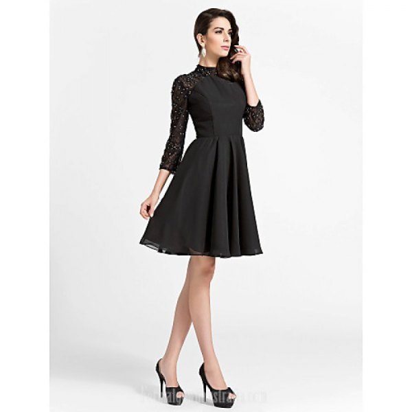 black lace sleeve skater dress