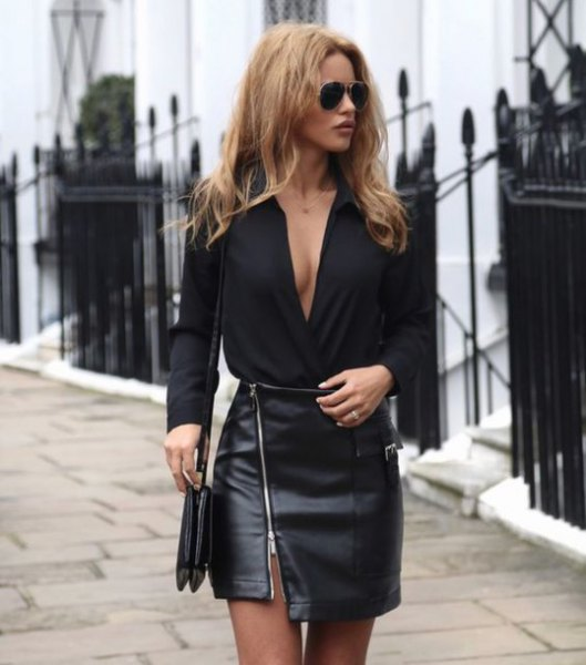 black leather skirt outfit
