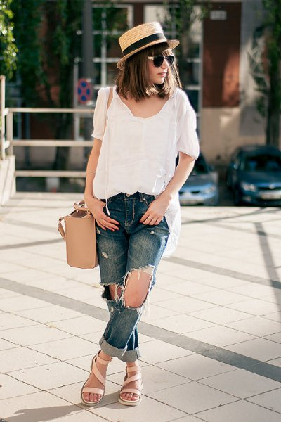 black linen top ripped boyfriend jeans