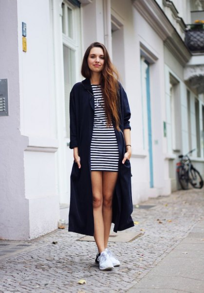 black long cardigan striped t shirt dress