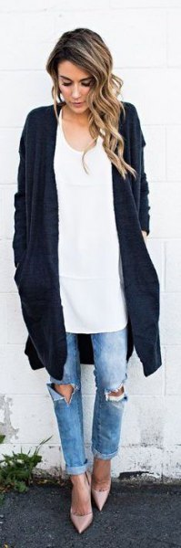 black long cardigan white oversized vest top