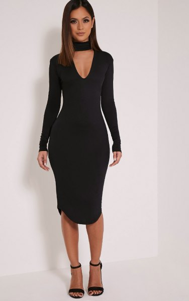 black long sleeve choker deep v neck bodycon dress
