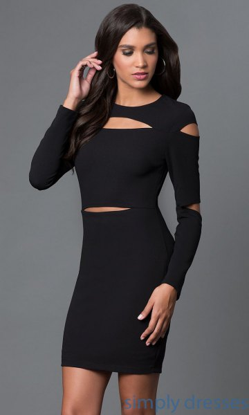 black long sleeve dress multiple mini cutouts