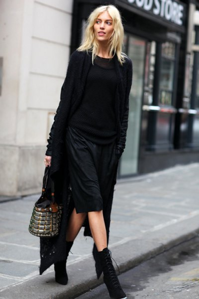 black maxi cardigan knit sweater knee length shorts