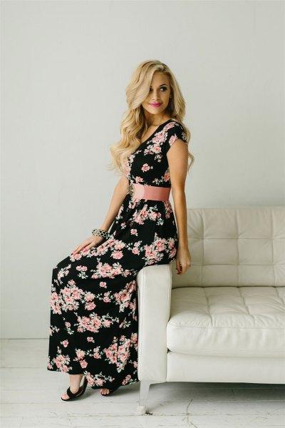 black maxi floral dress wide pink belt