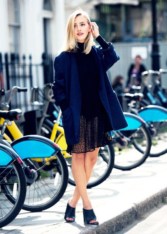black mesh dress blue coat