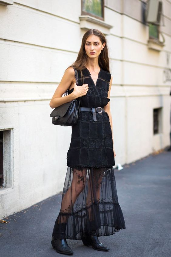 black mesh dress tailored