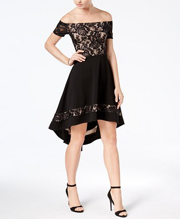 black off shoulder knee length high low dress