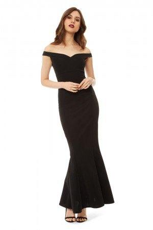 black off shoulder maxi sheath dress