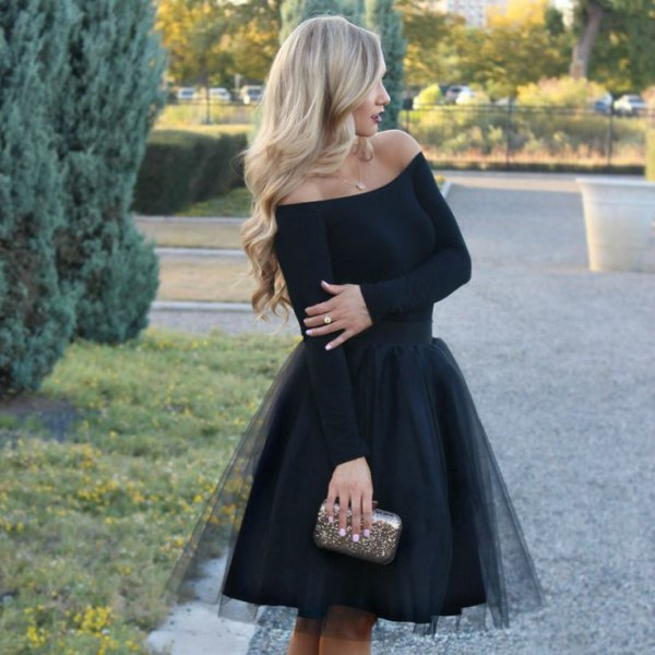 black off shoulder tulle dress silver purse