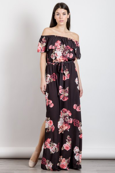 black off the shoulder floral double slit maxi dress