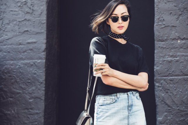 black polka dot choker scarf denim skirt