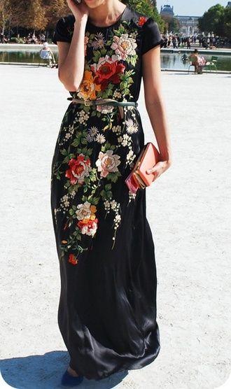 black satin dress embroidered