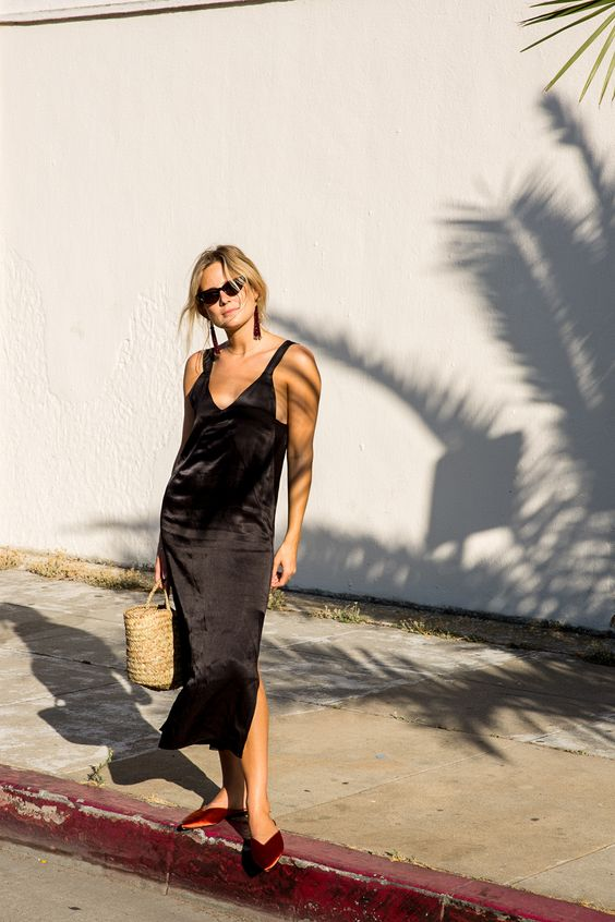 black satin dress slippers