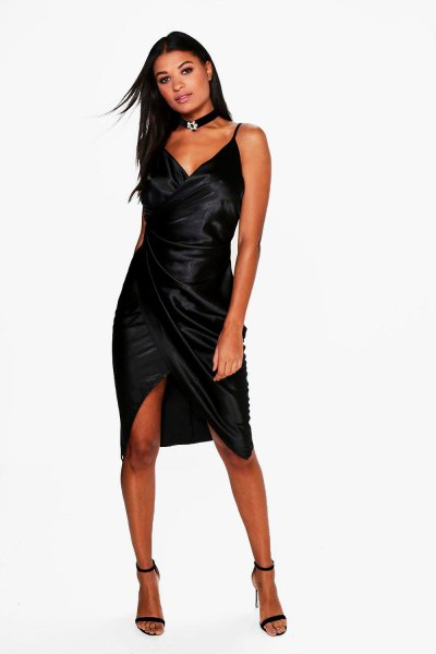 black satin wrap dress choker