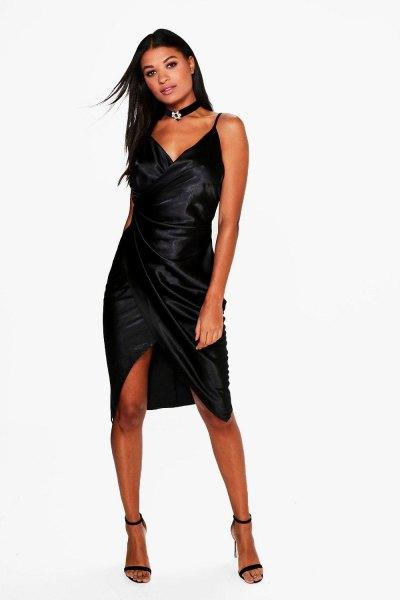 black satin wrap dress choker