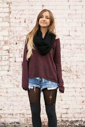 black scarf grey cold shoulder top denim shorts