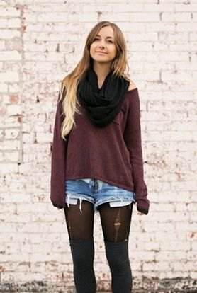 black scarf grey cold shoulder top denim shorts