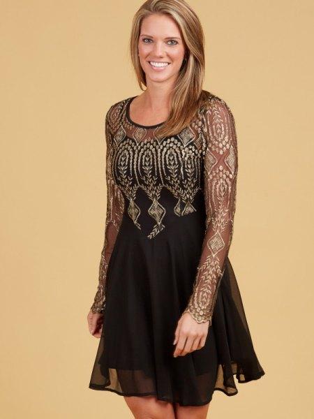 black semi sheer chiffon tulle dress gold tribal pattern