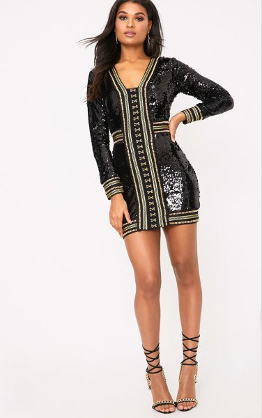 black sequin embellished bodycon dress