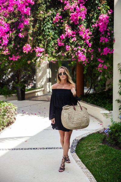 black shift dress gladiator sandals